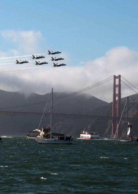 Blue angels and Golden Gate bridge